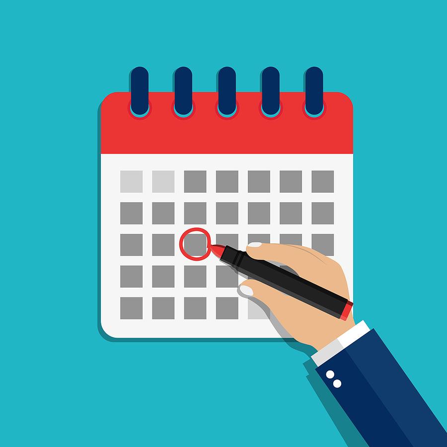bigstock Calendar Date Circled Of Hand 328479628